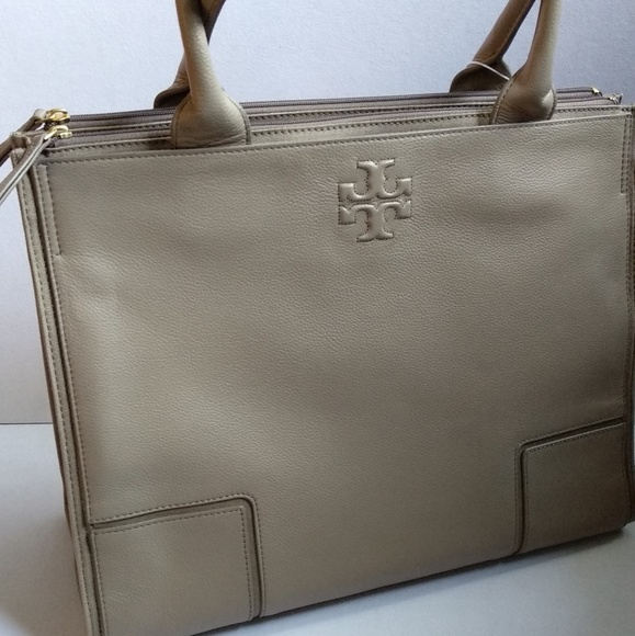 6a89d5d93073 NWT TORY BURCH ELLA LARGE LEATHER AND CANVAS